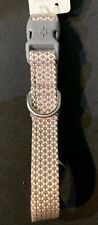 New Jubilee Light Pink Grey Soft Braided Dog Collar Adjustable Small