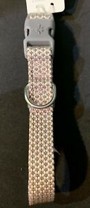New Jubilee Light Pink Grey Soft Braided Dog Collar Adjustable Small