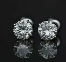 2.00ct Round Forever Classic Moissanite 14K White Gold Stud Earrings Push Back