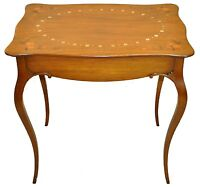 Antique Country French Inlaid Marquetry Parlor, Side, End, Accent Table, c 1900s
