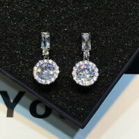 925 Silver Round Cut Crystal AAA Zircon Dangle Earrings Drop Hook CZ Earrings