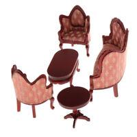 1/12 Holz Sofa Beistelltisch 5 Stücke Kit Möbel Modell Für Puppenhaus