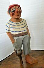 "Vintage Hand-painted Carved ANRI 5"" Tall PIRATE Peg Leg -- Aye, Aye Captain!"