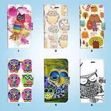 Cute Owl Flip Wallet Case Cover for Sony Xperia Z2 Z3 Z5 LG G5 025