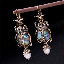 Natural Abalone Shell Earrings Pearl Beetle Drop Earrings Aurora Irregular Gift