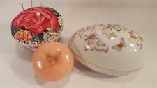 Vanity Top Collection Avon Egg, Alabaster Trinket box & Ooak Tea Cup Pincushion