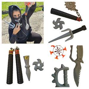 2x Sets of Boys Kids Plastic Ninja weapons toys shuriken, nunchucks, sword sets