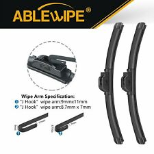"ABLEWIPE Fit For Mitsubishi Expo 1995-1992 Windshield Front Wiper Blades 22""+18"""