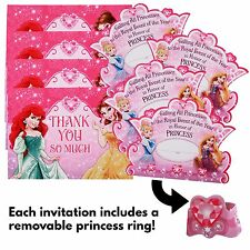 24pc Disney Princess Girls Birthday Party Invitations and Thank You Card Set