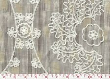 Embroidered Drapery Upholstery Fabric by P Kaufmann Mythical Medallion CL Pearl