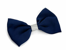 Navy Blue with Silver Glitter Hair Bow Stylish Hair Clip Hair Slide Free UK PP
