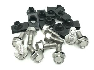 """10pc fender bolts & short """"U"""" nuts 5/16-18 x 3/4"""" stainless fits plymouth dodge"""