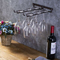 Hanging Metal Wine Cup Rack Bar Double Stemware Glass Bottle Goblet Inverted