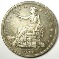 1877-S Trade Silver Dollar T$1 - XF Details (EF) - Rare Early Type Coin!