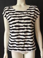 Forever 21 Womens Small Black White Striped Textured Knit Top Cut out Back