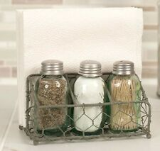 Unique Primitive Chicken Wire MASON Jar Salt Pepper Toothpick Napkin Holder