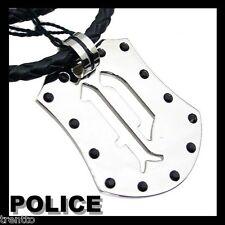 COLGANTE POLICE SHIELD HOMBRE PJ22054PLB/01 CORDÓN CUERO ACERO CIERRE MOSQUETON