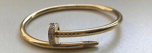 Cartier 18K Yellow Gold Diamond Juste Un Clou Bracelet Size 17