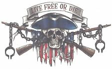 "SKULL FLAG GUNS SUPER SIZE EXTRA LARGE 7.75"" x 4 1/2"" AWESOME Temporary Tattoo"
