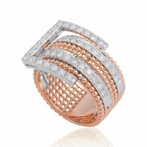Certified Natural 1.20 Ct. Diamond Belt Band Ring 18k Rose Gold Fine Jewelry