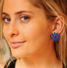KATE SPADE BRILLIANT BOUQUET GARDEN BLOOM COBALT ROYAL BLUE FLOWER STUD EARRINGS