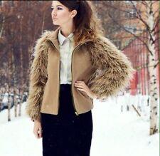 Zara Beige Camello manga de lana chaqueta de bombardero de Piel Sintética Con Cremallera Abrigo Pequeño S