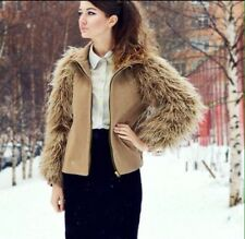 ZARA Beige Camel Faux Fur Sleeve Wool Bomber Jacket With Zip Coat Small S