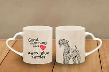 """Kerry Blue Terrier - ceramic cup, mug """"Good morning and love, heart"""", Usa"""