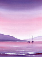 SARAH FEATHERSTONE, ORIGINAL ART SIGNED WATERCOLOUR PAINTING, Evening Sky, Boats