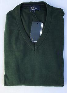 Fred Perry Herren Pullover V-Ausschnitt Dunkelgrün Grün, NEU, S, M, L, XL