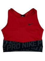 Nike Womens Pro Dri-Fit Intertwist Crop Training Tank Top Red/Black AH8779 New