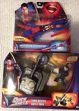 2 DC COMICS~Man Of Steel Vehicles~Tank Buster Battle Pack+Kryptonian Interceptor