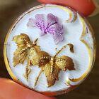 Lovely Antique Art Nouveau Glass Button Purple Flower with Gold Leaves 7 8