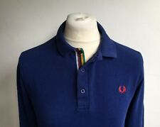 FRED PERRY BRADLEY WIGGINGS MENS BLUE L/S POLO SHIRT SIZE L CYCLING MOD