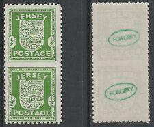 GB Jersey 3687 - 1941 ARMS 1/2d IMPERF BETWEEN vert pair FORGERY unmounted mint