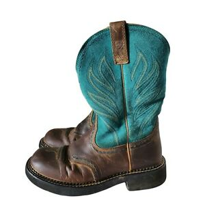 Ariat Fatbaby Probaby Flame Turquoise & Brown Cowboy Westetn Boots Size 7.5