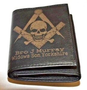 MASONIC WIDOWS SONS PERSONALISED GIFT WALLET ANY NAME, LODGE NAME & NO. LEATHER
