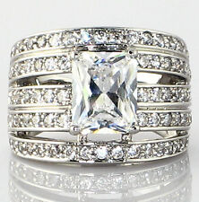 "Cut Bridal Wedding Ring - Size 9 ""Multi-band Stacked Look"" 4.14 Ct. Cz Emerald"