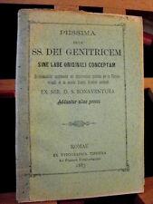 1885 Bonaventura PIISSIMA erga SS.DEI GENITRICEM /antica preghiera