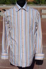 Moss Triple Multi-Stripe Covent Garden Collar London 2-Fold French Cuff Shirt