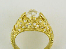 ANTIQUE HAND ENGRAVE STYLE SEMI MOUNT RING 18K GOLD NEW