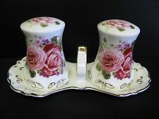 NEW PORCELAIN PINK ROSE SALT AND PEPPER SHAKERS WITH CARRY TRAY