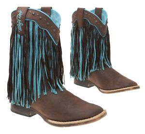 VEGAN Western Cowboy Boots 3 M Womens Faux Leather Rodeo Fringe Turquoise Boots