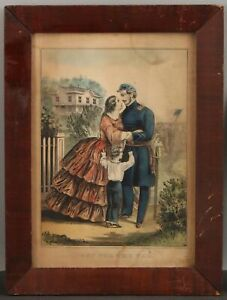Antique Orig 1861 Currier & Ives Off For The War Hand Colored Engraving