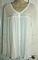 Knox Rose Women's Ivory Tunic Blouse with Lace Insets Size S