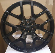 "22"" GMC Sierra Replica Wheels Gloss Black Rims Tires Silverado Yukon Denali LTZ"