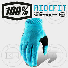 GUANTI 100% RIDEFIT MX ICE BLUE/BLACK ADULTO MOTOCROSS ENDURO OFF-ROAD ATV MTB