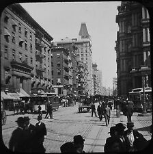Glass Magic Lantern Slide NEW YORK STREET SCENE C1890 PHOTO USA TRAMS