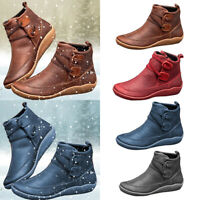 Women's Flat Leather Retro Strap Boots Round Toe Shoes Casual Ankle Boots Size