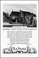 1926 Cadillac Ls Salle car small village GM villagers vintage art print ad ads48